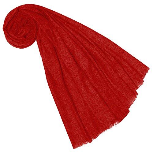 LORENZO CANA Luxus Yakwolle Damen Schal aus Nepal Yakschaltuch 100% Yak Wolle Yakwolleschal Uni Einfarbig Naturfaser Tomatenrot 7855977