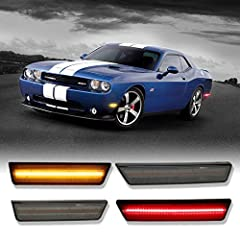 Fitment: The led side marker lights Compatible with 2008 2009 2010 2011 2012 2013 2014 Dodge Challenger.Replace OEM Part # 68043394AA 68043395AA 68039504AA 68039505AA. DOT/SAE Approved 126-SMD LED: 4 pieces of dark smoked lens sidemarker lamps(2 ambe...