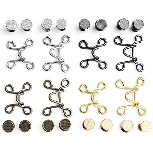 PerGrate 60 hebillas de aleación para pantalones vaqueros, ajustable, botón a presión sin clavos, para pantalones de mezclilla, plata, negro, dorado y cobre