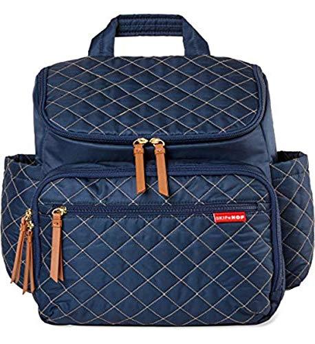 Skip Hop Mochila para pañales: Forma, multifunción, bolsa de viaje para bebé con cambiador y accesorio para cochecito, azul marino