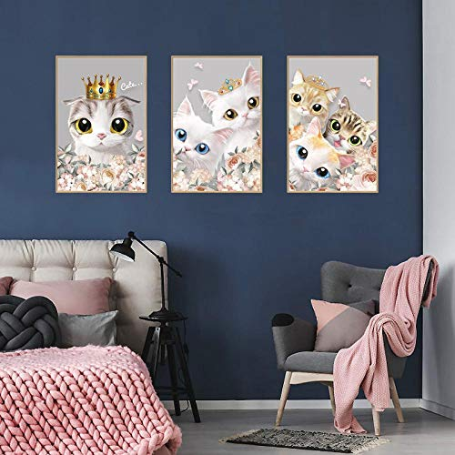 YLGG Triptychon Katze Wandaufkleber Wandtattoos Peel and Stick Abnehmbare Wandaufkleber für Kinder Kinderzimmer Schlafzimmer Wohnzimmer