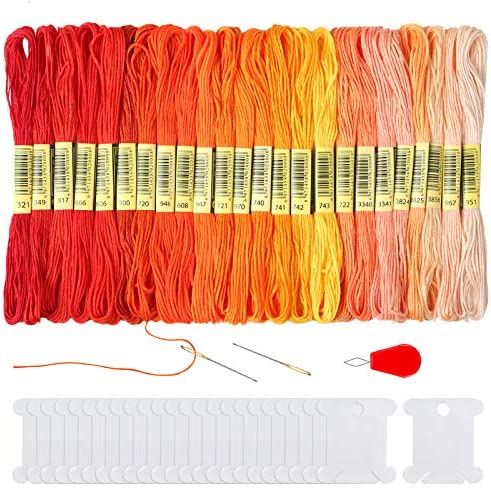 Pllieay 24 Skeins Red to Orange Gradient Embroidery Cross Stitch Threads Friendship Bracelets product image