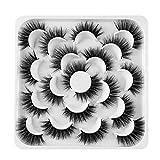 ARRIVEOK SKONHED 10 Pairs Handmade Lashes False Eyelashes Crisscross 3D Faux Mink Hair Eye Lash Extension Woman Wispy Flared Natural(03)