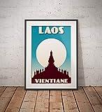 guyfam Vintage Poster Laos - Vientiane - That Luang - Fine