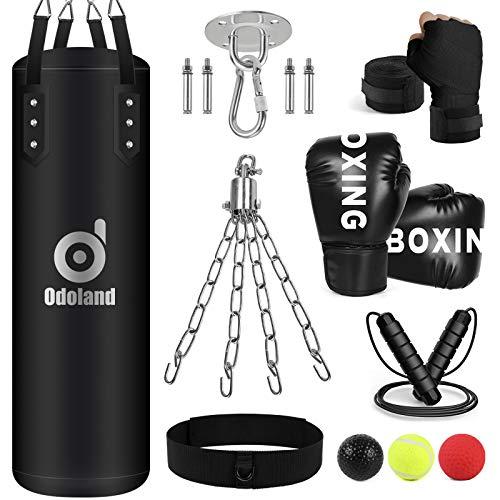 Odoland Boxsack Ungefüllt 100cm Punching Bag Set mit 12oz Boxhandschuhe, Reflexball, Boxbandagen,Kette Deckenhaken und Springseil, Punchingsäcke Boxsack Erwachsene für Boxtraining MMA Muay Thai