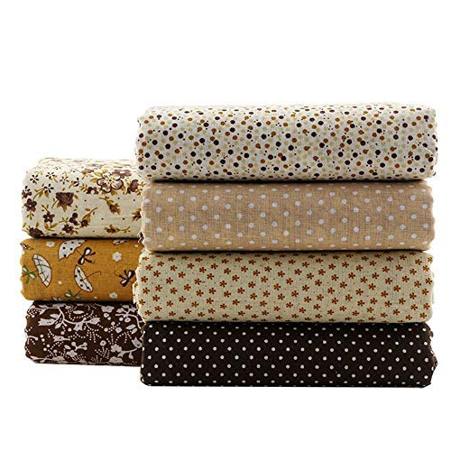 ShuanShuo Coffee Series Floral Cotton Fabric Quilting Patchwork Fabric Fat Quarter Bundles Fabric for Scrapbooking Cloth Sewing DIY Crafts Handmade Bags Pillows 50X50cm 7pcs/lot (Coffee)