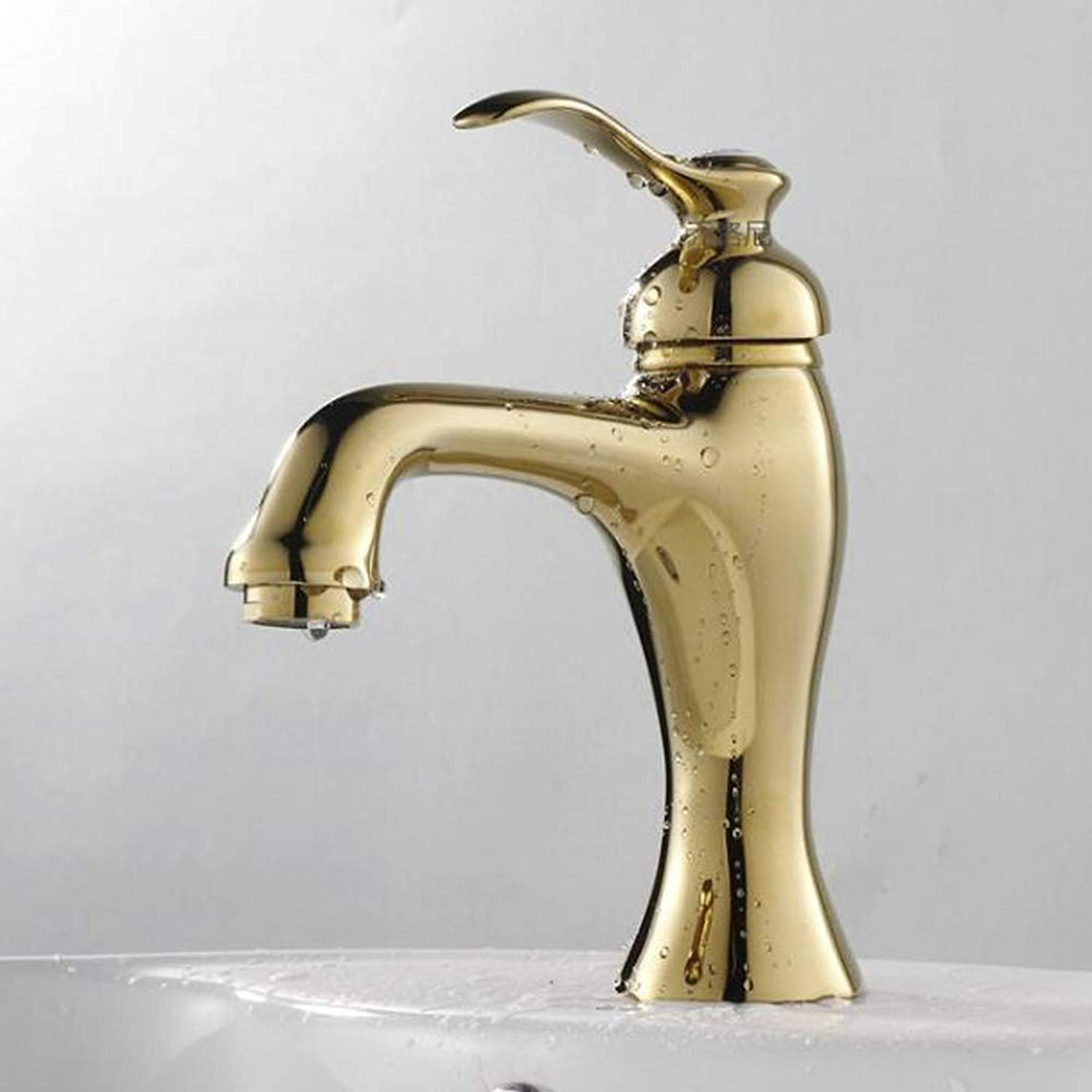 Bathroom Kitchen Sink Faucet,European Style gold-Plated Lavatory Faucet All Brass No Lead Bathroom Sink Hot Cold Mixer Tap,High,Short
