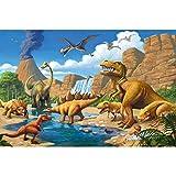 GREAT ART Mural De Pared Cuarto De Los Niños ? Adventure Dinosaur ? Mundo De Los Dinosaurios Tyrannosaurus Rex Cascada Estilo Jungla De Cómic Niños Y Niñas 210 x 140 cm