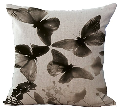 ChezMax Floral Butterfly Stuffed Cushion Cotton Linen Throw Pillow Insert Square for Home Sofa Couch Kitchen Chair Seat Office