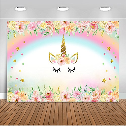 Mehofoto Unicorn Themed Backdrop Rainbow Flower Unicorn Baby Shower Background 7x5ft Vinyl Child Kids Birthday Party Photography Backdrops