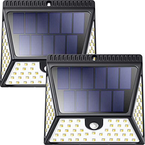 Solarleuchten für Außen, Luposwiten 82 LED Solarlampen mit Bewegungsmelder, 2400 mAh Wasserdichte solarlicht aussen, 270° Weitwinkel Beleuchtung für Garten, Wand, Fahrbahn, Einfahrt [1640LM, 2 Stück]