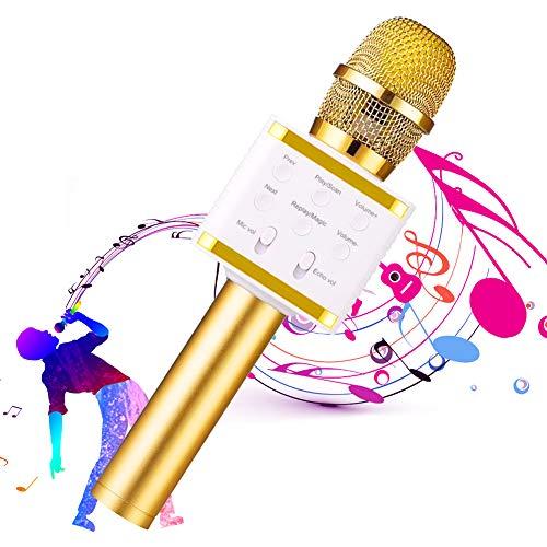 SunTop Micrófono Karaoke Bluetooth, Microfono Inalámbrico, Microfono Inalámbrico Altavoces, Compatible con Android/iOS o Teléfono Inteligente Soporta TF Tarjeta/USB Disco/ 3.5mm AUX Cable