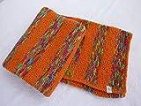 Babydecke 81 x 81 cm flauschig weich Kinderwagendecke Krabbeldecke Decke handgestrickt gestrickt orange und bunt gestreift