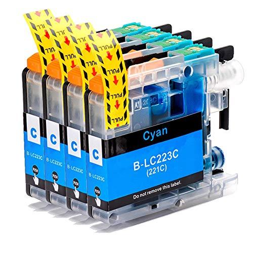 Ouguan® Cartuchos de Impresora Brother LC223 LC223XL Compatible para Brother MFC-J480DW DCP-J562DW MFC-J4420DW DCP-J4120DW MFC-J5320DW J880DW J680DW J4620DW J4625DW -4 Cian