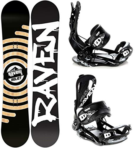 RAVEN Snowboard Set: Snowboard Relict + Bindung Fastec FT270 Black XL (159cm Wide)
