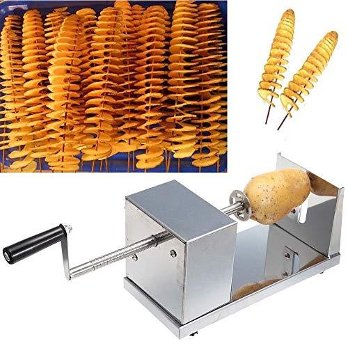 YUNRUX Kartoffelschneider Spiralschneider Gemüse Kartoffel Twister Gemüse Schneider aus Edelstahl mit Kurbel und rutschfesten Gummifüßen für Obst Kartoffeln,Tornado Chips, Gurken oder Karotten