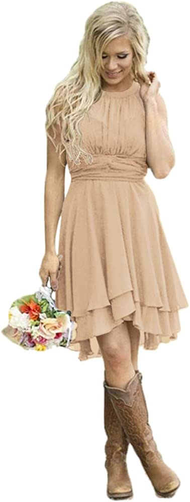 Andybridal Max 69% OFF Women's Country Today's only High Low Dr Halter Bridesmaid Chiffon