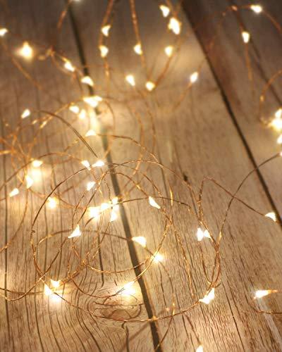 LAC 1 guirlande lumineuse LED 2 m 20 LED, guirlande lumineuse à piles, guirlande lumineuse à LED pour chambre à coucher, jardin, maison, fête, Noël, mariage (blanc chaud)