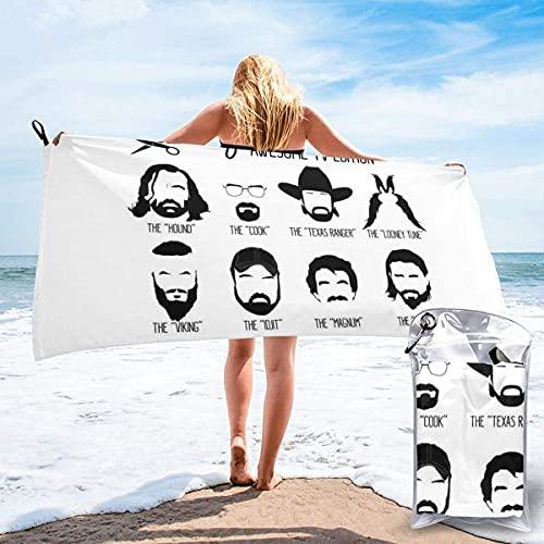 Toalla de secado rápido para el pelo facial de la televisión, toalla de playa grande de microfibra, equipada con mosquetón para un fácil almacenamiento, toalla de baño suave de secado rápido