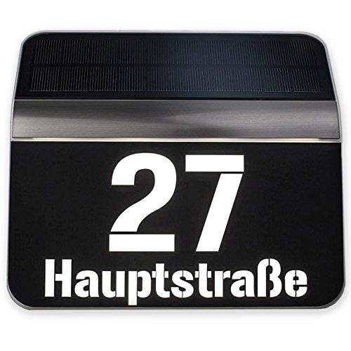 Metzler Hausnummer beleuchtet - LED Solar-Beleuchtung mit Dämmerungssensor - mit Straßenname - Farbe: silber/schwarz