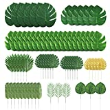 Zorara 71 PCS Artificial Palm Leaves,Tropical Palm Leaves Monstera Leaves with Stems Simulation Safari Leaves for Hawaiian Luau Party Jungle Beach Theme Party Table Leave Decorations