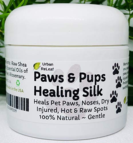 Urban ReLeaf Paws & Pups Healing Silk! Heal, Protect Pets, Dry, Injured, Hot & Raw Spots. Gentle 100% Natural Dog Salve! Vitamin Shea. Earth's finest ingredients. Softens skin & fur! Walk Rescue