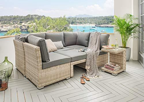 Destiny Lounge Loungegruppe Aruba Sitzgruppe Sofaset Faltdach Polyrattan (76070) - 6