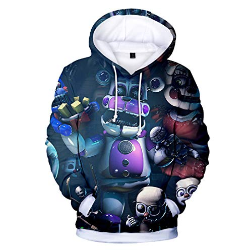 CTOOO Unisex 3D Five Nights at Freddy Muster Druck Kapuzenpullover Hoodies Sweatshrit, Herren Casual Trend Cosplay Mode Pullover Jacke, Loose Fit XXS-XXXL 4XL