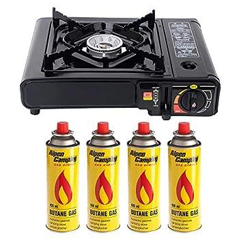 Réchaud à gaz de camping avec 4 cartouches, kit de réchaud de camping extérieur, mini réchaud avec coffret, équipement idéal pour les pique-niques