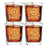 Set of 1, 2, 3, and More Custom Etched Whiskey Rocks Glasses for Wedding Party - Personalized Square Rocks Glass Gift for Groom, Groomsman - Contemporary Style (4)