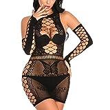 MengPa Women's Fishnet Lingerie Babydoll Mesh Hole Chemise Babydoll Sleepwear Mini Dress One Size (Black-US2399A-Q)