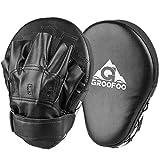 GROOFOO 1 par Almohadillas de Boxeo, Almohadillas de Entrenamiento de Cuero PU para Niños y Adultos MMA, Muay Thai, Karate, Dojo, Taekwondo - Negro