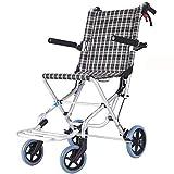 ZXCASD Aluminium Rollstuhl Kleiner Faltbarer Reiserollstuhl Ultraleichtes Mobilitätsgerät Rollator Mit Armlehnen Und Sicherheitsgurt