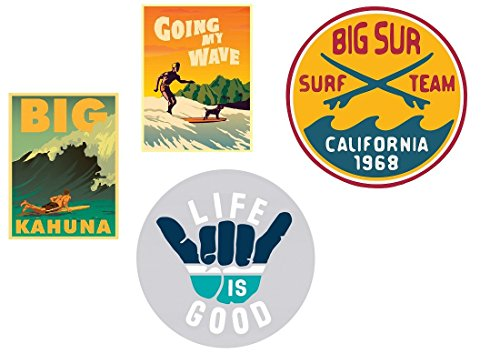 24/7stickers #154/Aufkleber Set 4x Surfer Breite je ca. 6cm Beach Surfboard Hippie Hang Loose Vintage Oldtimer