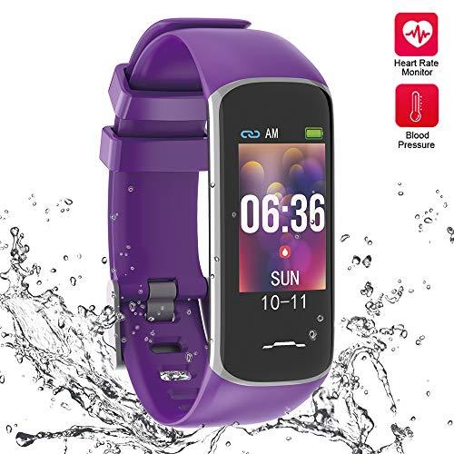 Fitness-Tracker, Aktivitätstracker Uhr mit Herzfrequenz-Monitor, Smart Watch mit Nachricht Erinnerung und Schrittzähler, Smart-Armband mit Blutdruck und Schlaf-Monitor