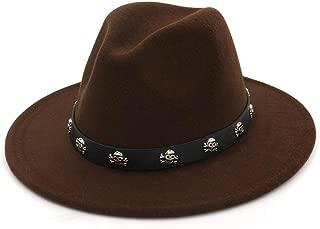 HaiNing Zheng Felt Wide Brim Gambler Fedora Hat Skull Rivet Leather Decoration Men Women Panama Jazz Formal Top Hat