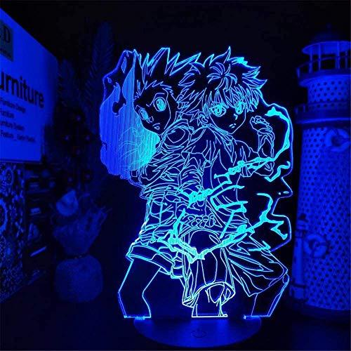 Lámpara de ilusión 3D Hunter X Hunter Gon y Killua Night Light junto a la lámpara de mesa con 16 cambios de color y control remoto, regalos para niños a partir de 3 4 5 6 años