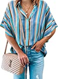 CILKOO Blouses for Women Casual V Neck Short Sleeve Ladies Color Block Striped Tops and Blouse for Work Fashion 2021 Blouses & Chiffon Button-Down Shirts Chiffon Shirts Blue Large