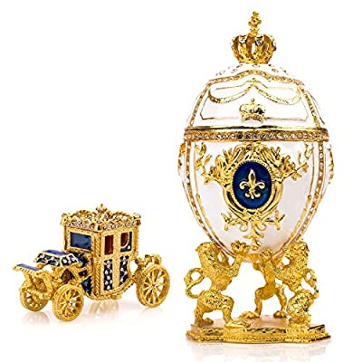Chic Faberge Egg Jewelry Box with Horse Carriage
