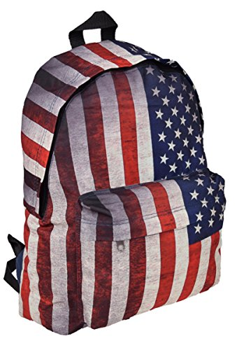 Zaino Sport zaino Street Wear City zaino in USA motivo bandiere a stelle e strisce