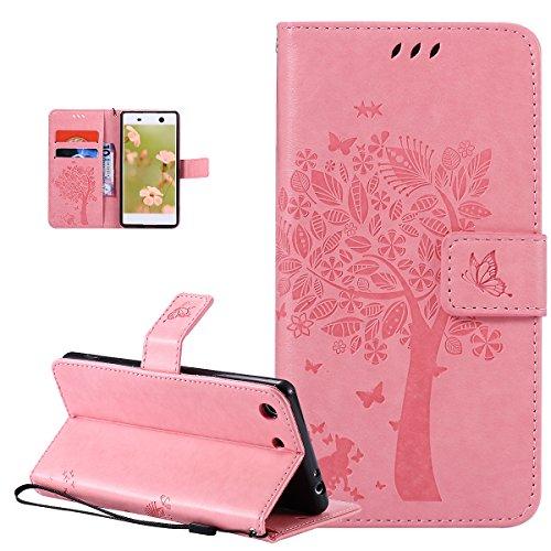 Coque Sony Xperia M5,Etui Sony Xperia M5,ikasus Gaufrage Embosser Chat papillon Fleur Floral arbre Housse en Cuir PU Etui Housse en Cuir Portefeuille Flip Case Etui Coque pour Sony Xperia M5,Rose
