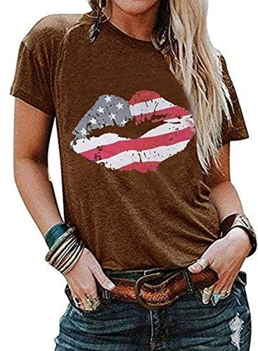 Camiseta de manga corta para mujer, diseño de bandera americana, cuello redondo, para el día de San Valentín, casual, blusa de manga corta, camiseta de verano para mujer