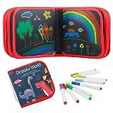 FOONEE 14 Seiten Doodle Matte, Frühes Lernspielzeug Scribble Board, Doppelseitig Löschbares Doodle Malerei Leinwand mit 12 farbigen löschbaren Stiften, Pädagogisches Spielzeug für Kinder