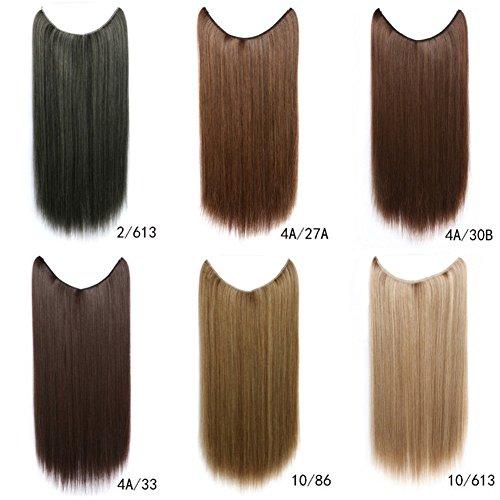 Remeehi Extensions de cheveux lisses et invisibles en fil de fer synthétique pour femme 55,9 cm 79,9 g