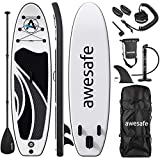 awesafe Inflatable Stand Up Paddle Board with Premium SUP/ISUP Accessories Including Backpack, Bottom Fin for Paddling, Paddle, Non-Slip Deck, Hand Pump, Leash (Black)