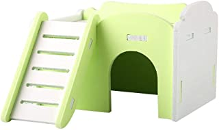 Mumusuki Double Layer Hamster House Bed Cage Climb Toys Small Pets Slide Nest Loft Bed Cute Wooden Sleeping House with Stairs for Guinea-Pig Hedgehog Castle