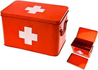 Present Time Red with White Cross Metal Medicine Storage Box, Large