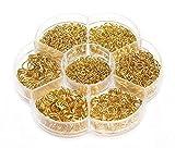 1450 piezas caja conjunto de anillos de salto abierto joyería Kit de joyería Conectores Cadena Enlaces Set para DIY Arcilla Joyería Hacer hendiduras 4-10 mm assorted size dorado