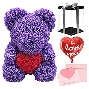 Silk Flower Arrangements Rushopn Purple Rose Teddy Bear Flower Bear with Red Heart with Balloon, Greeting Card & Gift Box for Mothers Day, Valentines Day, Anniversary, Weddings & Birthday