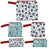 Reusable Snack Bags Sandwich Bags for Kids, Washable, Food Safe Fabric, BPA Free - Mermaids, Sea Horses,& Sea Turtles (5 pack)